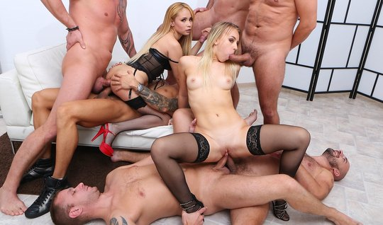Blonde in stockings in group Orgy fuck with double penetration