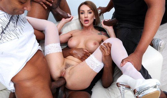 A crowd of blacks with big cocks staged for beauty double penetration