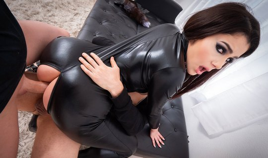 Girl in latex Blowjob after orgasm from double penetration