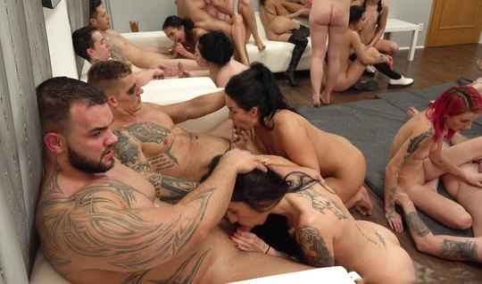 Tattooed guys invited friends for a real Orgy on video camera