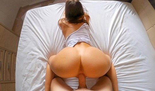 Booty cum at the end of POV video, sitting at home with pussy on a long dick