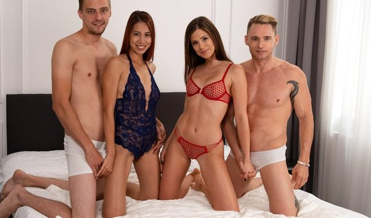 Two swingers swapped wives and the whole gangbang moaned with pleasure