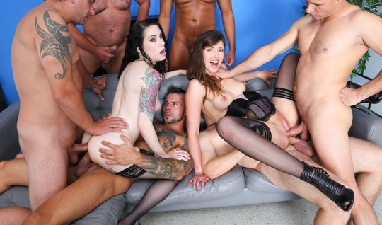 The football team arranged an anal group sex with two beauties in stockings