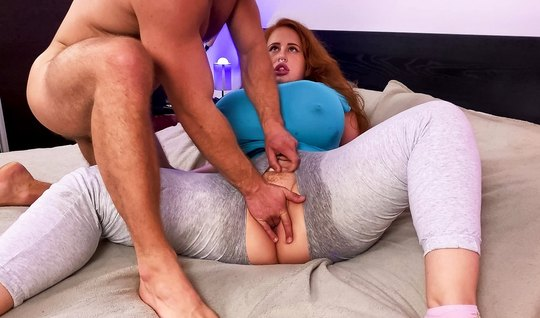 Redhead BBW takes a huge penis from a muscled inside a sweet vagina