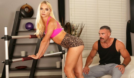 Mustachioed hunk spins tanned blonde for an anal adventure in the gym